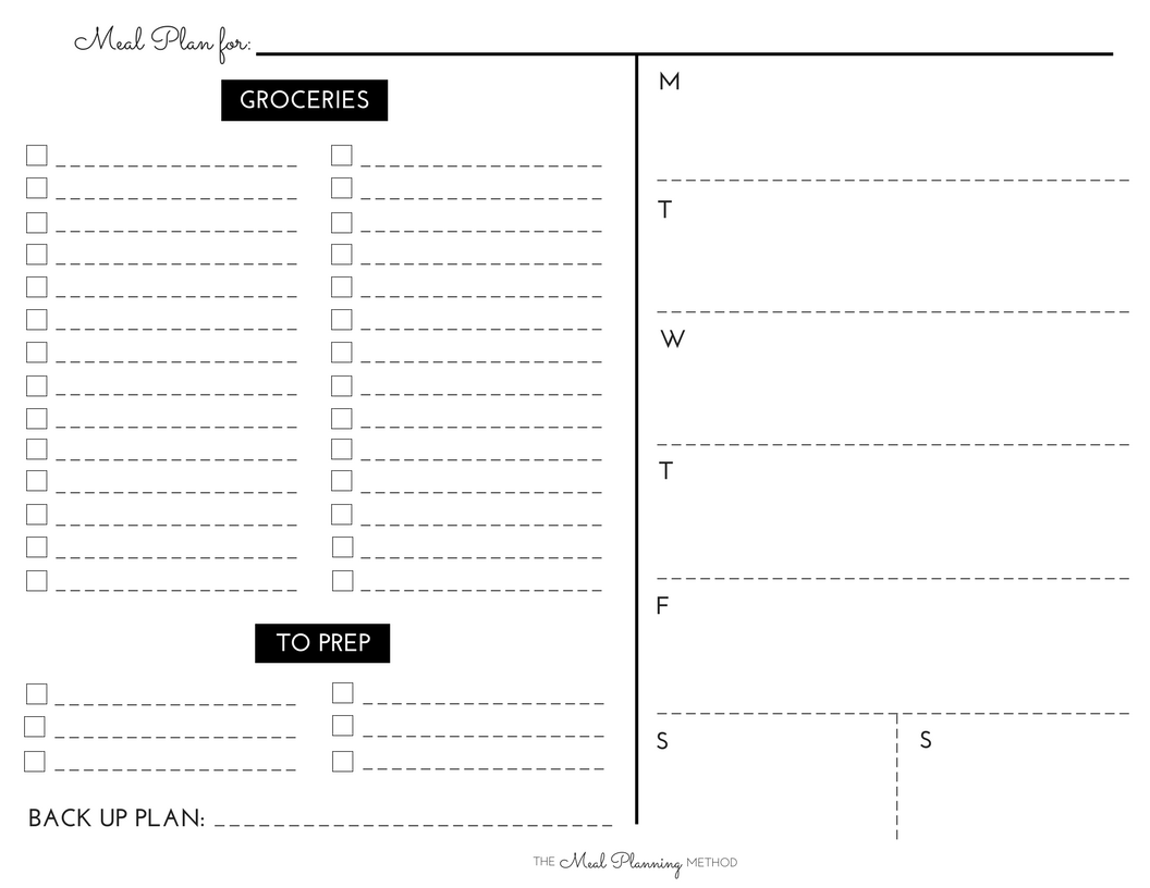 It's just a picture of Free Printable Weekly Meal Planner with planning worksheet